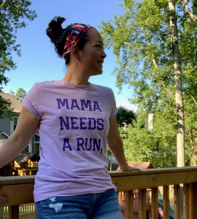 Wearing my Sarah Marie Design Studios Mama Needs a Run shirt and Buff Dawa cooling headband.
