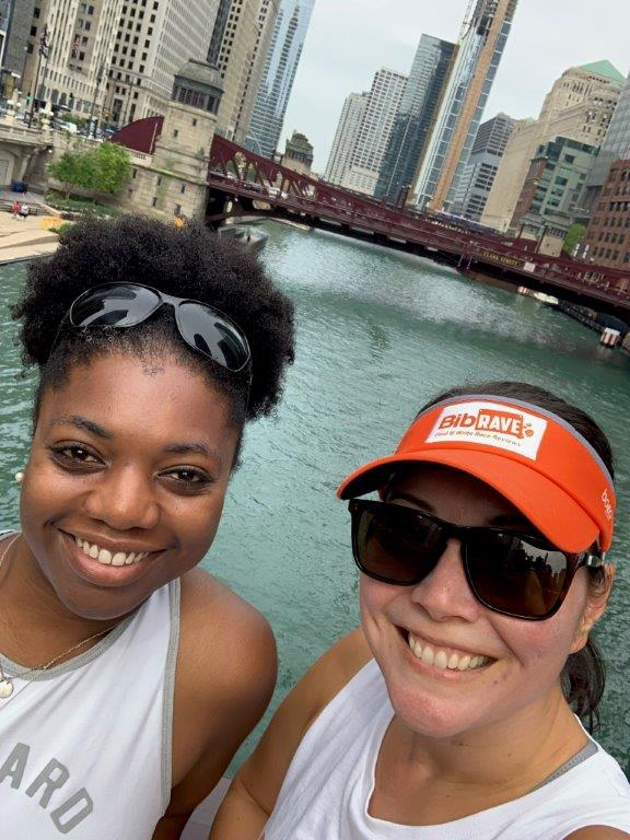 Steph and I standing in front of the river in Chicago