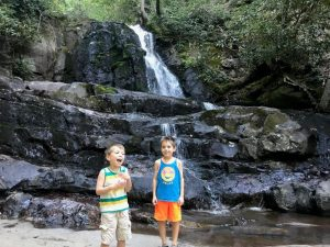 The boys posing in front of Laurel Falls in the Great Smoky Mountains